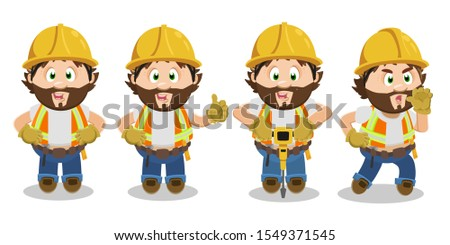Smiling bearded builder man spending time at construction area. Foreman standing with arms akimbo, showing thumb up, perforating with drill, crying and giving instructions. Cartoon vector set on white