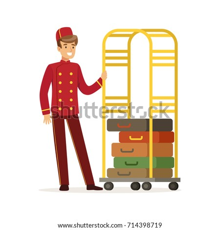 Smiling bellhop character wearing red double breasted uniform with luggage cart, hotel staff vector Illustration