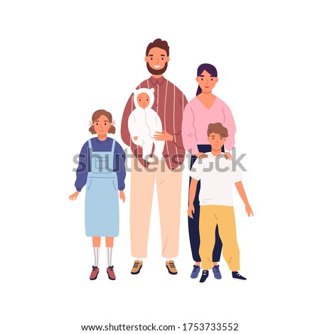 Smiling big family portrait vector flat illustration. Happy mother, father and three children standing isolated on white background. Parents, son, daughter and baby together