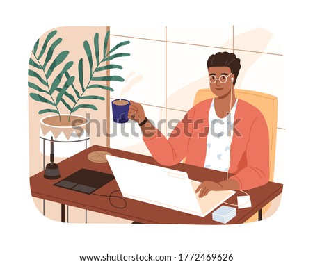 Smiling black skin freelancer male working remotely use laptop vector flat illustration. Modern designer man sitting at table with cup of coffee isolated. Self employed guy at comfortable workplace