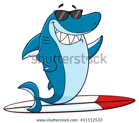 smiling blue shark cartoon