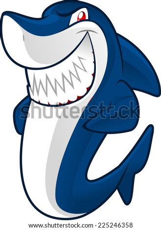 smiling blue shark vector