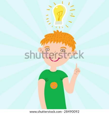 Smiling boy have an idea - funny cartoon vector illustration - stock vector