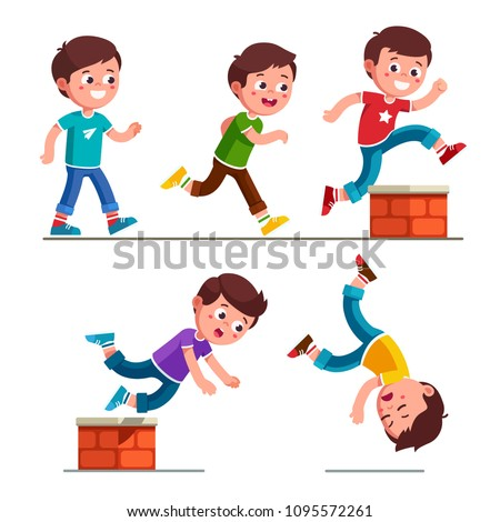 Smiling boy kid walking, running, jumping, stumbling on small brick obstacle and falling down. Child cartoon characters set. Childhood trip over hazard. Flat vector illustration isolated on white