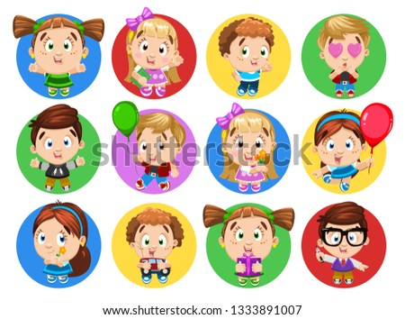 65343bab03 Smiling boys and girls hold book, flowers, balloons, car, present box,