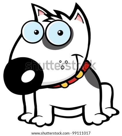Smiling Brown Bull Terrier Dog - stock vector