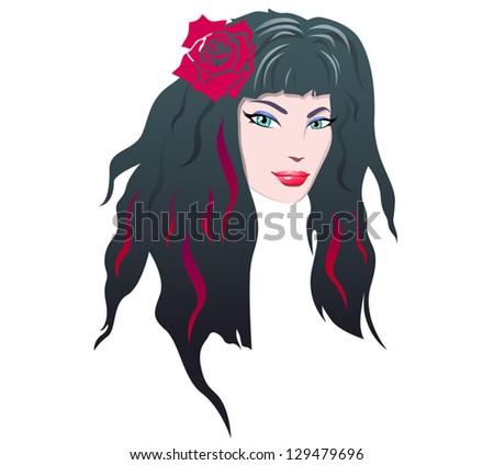 smiling brunette girl with rose