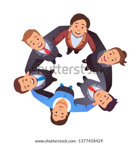 Smiling business people team man & woman group hugging each other holding arms in circle and looking up together. Aerial top view. Teamwork, unity, togetherness. Flat vector character illustration