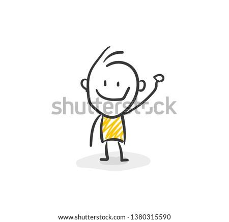 Smiling Business Stick Figure Waving Vector