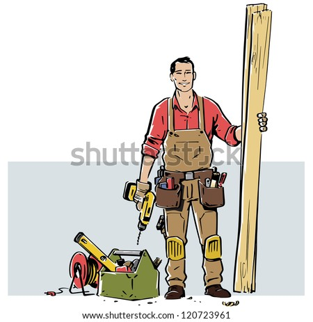 Smiling carpenter, ready to work. The grey box that works as a background can easily be removed so the illustration can work in a different layout.