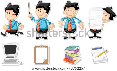 Smiling cartoon business man with office icons