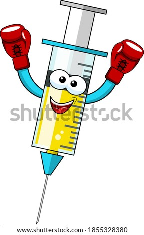 Smiling cartoon character mascot medical syringe vaccine winner boxer concept vector illustration isolated