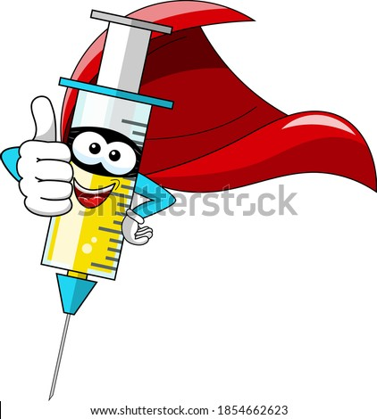Smiling cartoon character mascot superhero medical syringe vaccine thumb up vector illustration isolated