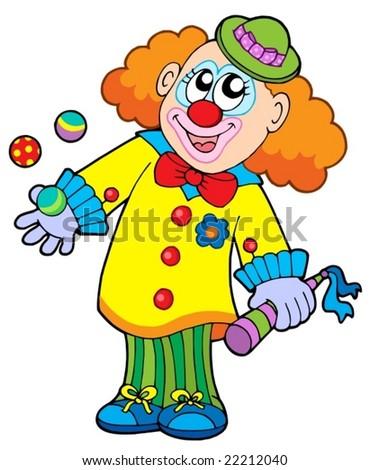 Smiling cartoon clown - vector illustration.