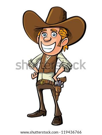 Smiling cartoon cowboy isolated on white