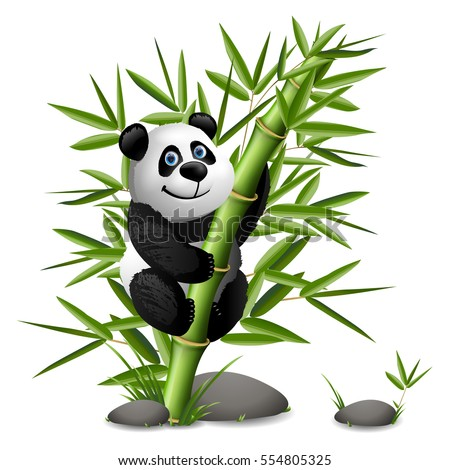 smiling cartoon panda hanging