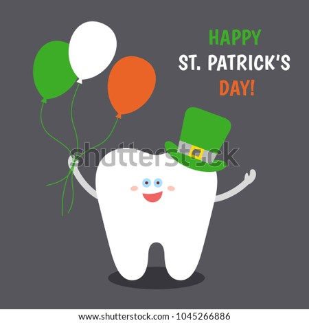Smiling cartoon tooth in Saint Patrick's green hat with balloons colors of the Irish flag. Happy St. Patrick's Day! Greeting card from dentistry.