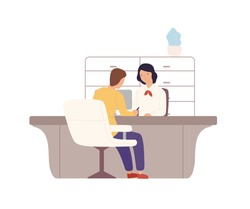Smiling cartoon woman bank worker and man customer signing documents at office vector flat illustration. Colorful female providing services to male client isolated on white. People at payment office