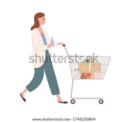 Smiling casual woman walking with shopping cart full of products vector flat illustration. Happy female hold bottle of water going with trolley isolated on white. Customer girl with purchases
