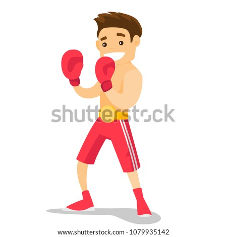Smiling caucasian white boxer in red boxing gloves training during fitness workout. Male boxer exercising in boxing gloves. Vector cartoon illustration isolated on white background. Square layout.