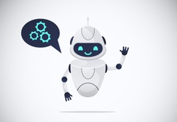smiling chatbot helping solve a problems. robot shaking hand. greeting moves. vector illustration. isolated on white background.