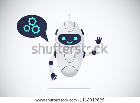 smiling chatbot helping solve a