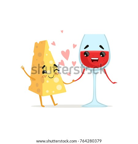 Smiling cheese and glass of red wine holding by hands. Couple in love. Food and drink concept. Vector illustration characters in flat style
