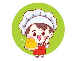Smiling chefs cooking, holding cake, Bakery cartoon art illustration logo. Premium Vector