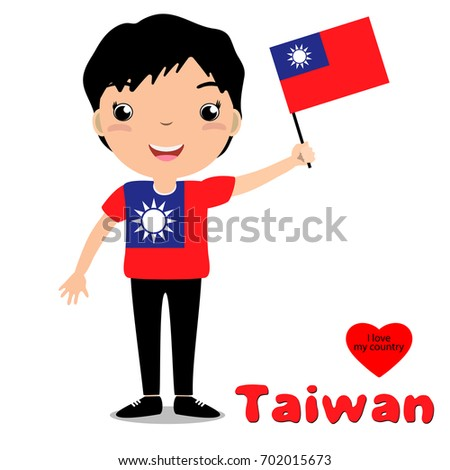 Smiling child, boy, holding a Taiwan flag isolated on white background. Vector cartoon mascot. Holiday illustration to the Day of the country, Independence Day, Flag Day.