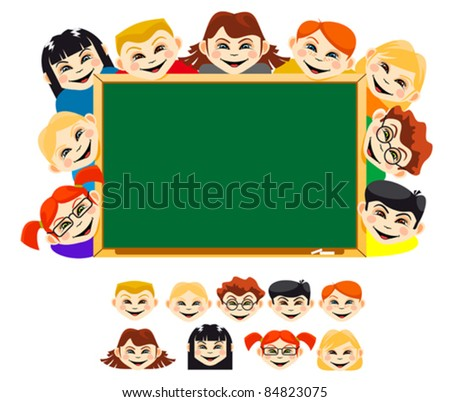 Smiling childrens near blackboard for education design. Rasterized version also available in gallery