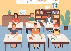 Smiling classmates listening lecture in geography room. Children sitting at desks in classroom. Pupils studying at primary school. Vector illustration in flat cartoon style