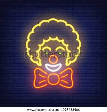 smiling clown neon icon circus