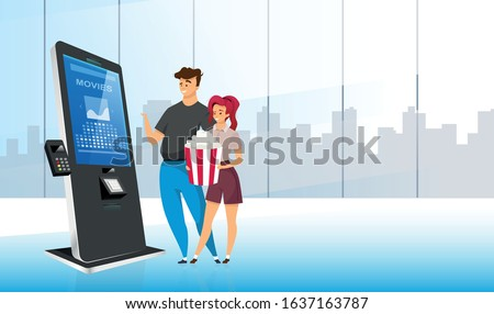 smiling couple near ticket