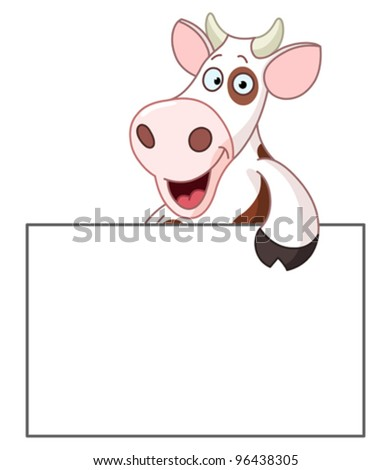 Smiling cow holding a blank sign