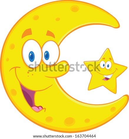 smiling crescent moon and happy