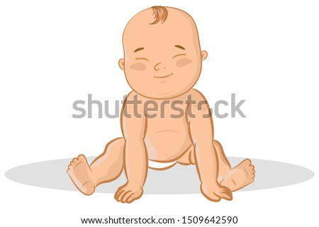 smiling cute cartoon baby girl