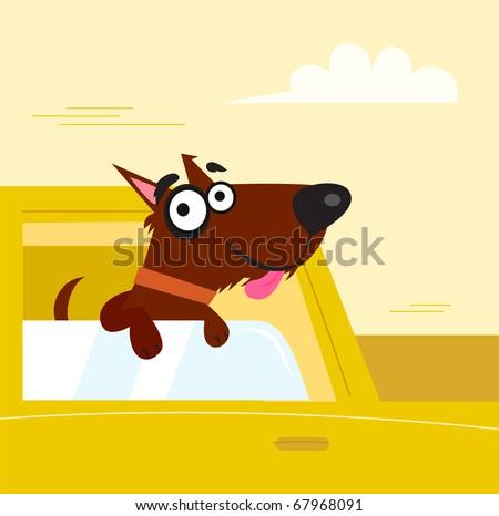 Smiling cute dog in yellow car. Vector cartoon Illustration.