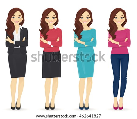 Smiling cute woman in different style clothes with arms crossed standing isolated on white background