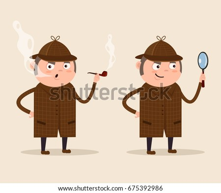 Smiling detective man character looking through magnifying glass and smoking pipe. Vector flat cartoon illustration