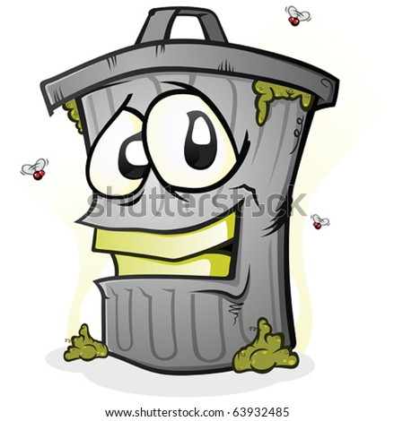 smiling dirty trash can cartoon