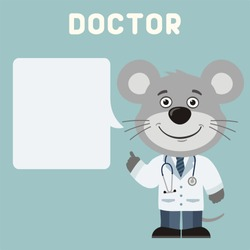 Smiling doctor mouse with bubble speech in cartoon style.