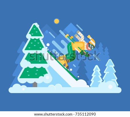 Smiling downhill skier riding fast on slope on snowy winter forest background. Mountain cross country skiing concept scene with ski man in motion. Young guy on skis vector illustration.