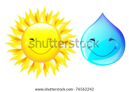 Smiling Drop Of Water And Sun, Isolated On White Background, Vector Illustration