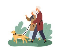 Smiling elderly couple walking with dog at park vector flat illustration. Happy mature man and woman talking spending time together outdoor isolated on white. Family enjoying promenade with pet