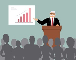 Smiling elderly speaker stands behind the brown wooden lectern and carries out the report before the audience, makes analysis of the chart of growth. Blue background. Vector illustration