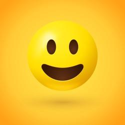 Smiling emoji - happy emoticon on yellow background