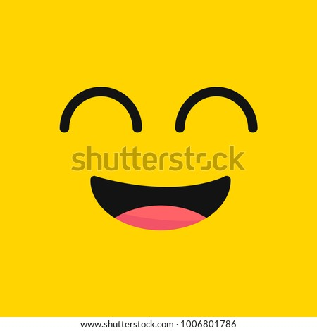 smiling emoji with open mouth.Smiley. Vector happy face