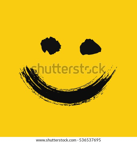Smiling emoticon. Emoji of positive feelings. Happy face. Painted emotion icon. Grunge brush strokes design. Distressed texture. Vector illustration. For social networks, internet messages