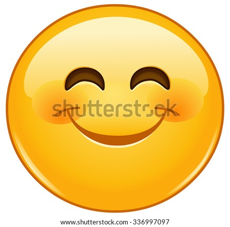 Smiling emoticon with happy eyes and rosy cheeks