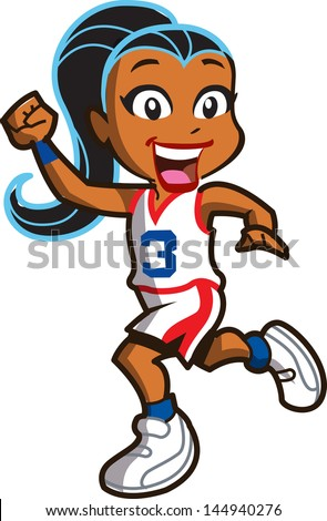 smiling ethnic girl basketball